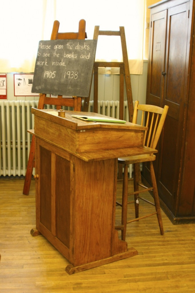 The teacher's desk in the Edwardian Classroom