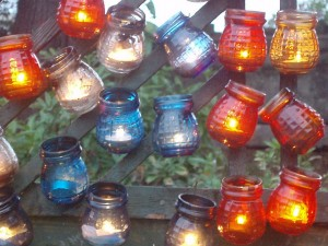 Tealights in jam jars